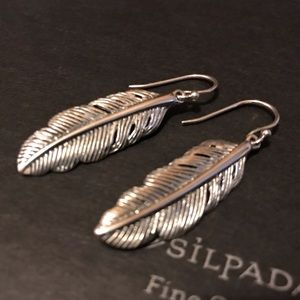 Silpada Etched Feather Earrings